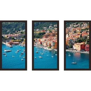 """Coastline"" Framed Plexiglass Wall Art Set of 3"