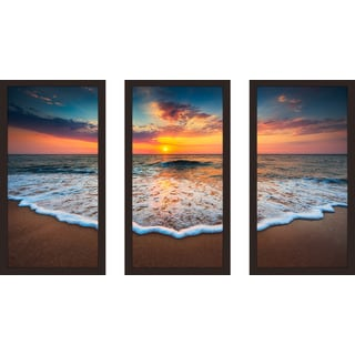 """Cloudscape over the Sea 4"" Framed Plexiglass Wall Art Set of 3"