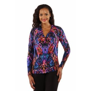 Fashion Forward Jewel Tone Drape Neck Top