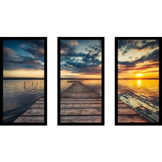 """Small Dock and Boat 2"" Framed Plexiglass Wall Art Set of 3"