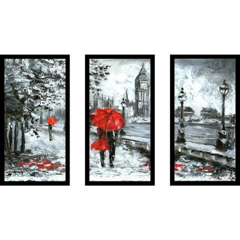 """London Romance"" Framed Plexiglass Wall Art Set of 3"