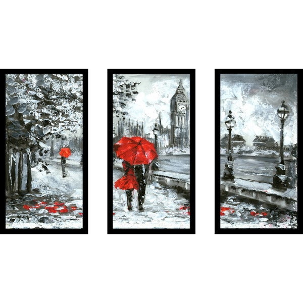 shop london romance framed plexiglass wall art set of 3 free shipping today. Black Bedroom Furniture Sets. Home Design Ideas