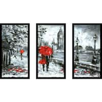 """London Romance"" Framed Plexiglass Wall Art Set of 3"