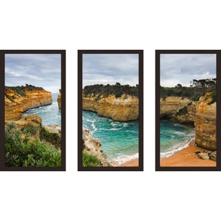 """Loch Ard Gorge, Victoria, Australia"" Framed Plexiglass Wall Art Set of 3"