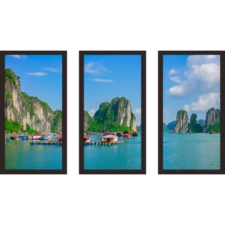 """Halong Bay, Vietnam, Southeast Asia"" Framed Plexiglass Wall Art Set of 3"