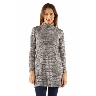24/7 Comfort Women's Grey Mock Neck Tunic