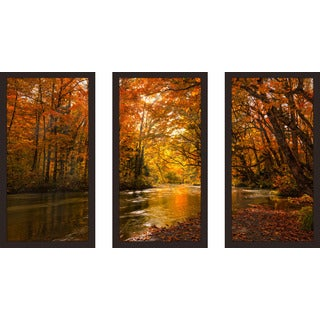 """Autumn Forest"" Framed Plexiglass Wall Art Set of 3"