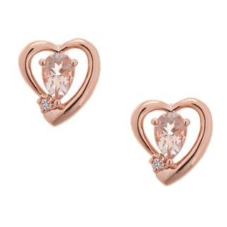 Anika and August Rose Silver Morganite and White Sapphire Earrings