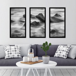 """Ocean on the rocks"" Framed Plexiglass Wall Art Set of 3"