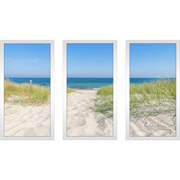 """Beach of the baltic sea"" Framed Plexiglass Wall Art Set of 3"