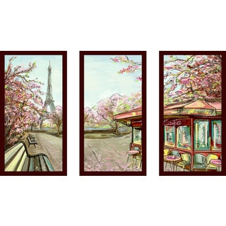 """Streets in Paris"" Framed Plexiglass Wall Art Set of 3"