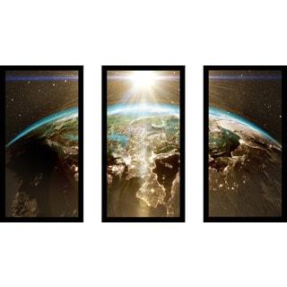 """Planet Earth - Europe"" Framed Plexiglass Wall Art Set of 3"