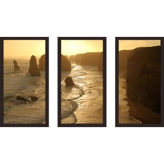 """The Twelve Apostles Australia"" Framed Plexiglass Wall Art Set of 3"