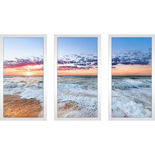 """Colorful ocean beach sunrise"" Framed Plexiglass Wall Art Set of 3"