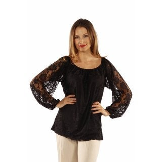24/7 Comfort Apparel Women's She's So Pretty Black Lace Tunic Top