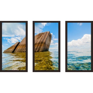 """Seychelles Islands 2"" Framed Plexiglass Wall Art Set of 3"