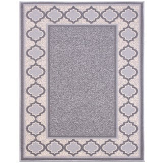 Anne Collection Grey/Ivory Synthetic Moroccan Trellis Non-skid Area Rug (3'3 x 5'0)
