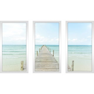 """By the Dock"" Framed Plexiglass Wall Art Set of 3"