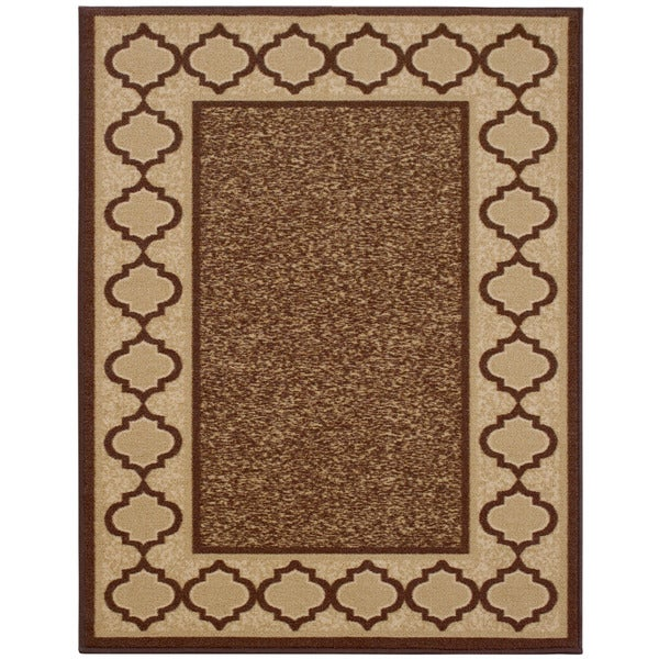 Anne Collection Brown Beige Synthetic Moroccan Trellis