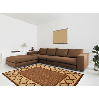 Anne Collection Brown/Beige Synthetic Moroccan Trellis Border Design Modern Non-skid Area Rug (5' x 6'6)
