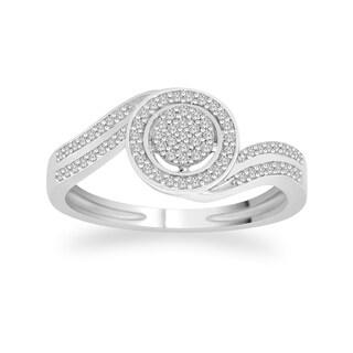 Trillion Designs 10k White Gold 1/6ct TDW Diamond Clover Cluster Bridal Set (H-I, I1-I2)