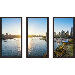 """Cambie Bridge, Vancouver"" Framed Plexiglass Wall Art Set of 3"