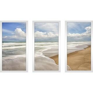 """""""Beach 2"""" Framed Plexiglass Wall Art Set of 3"""