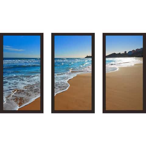 """""""Beach 1"""" Framed Plexiglass Wall Art Set of 3"""