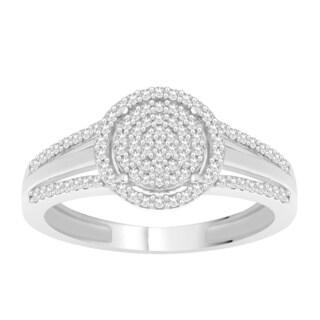 Trillion Designs 10k White Gold 1/5ct TDW Diamond Accent Cluster Engagement Ring (H-I, I1-I2)