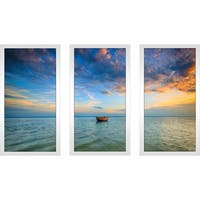 """Baltic Sea at sunset"" Framed Plexiglass Wall Art Set of 3"