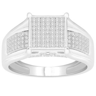 Trillion Designs Sterling Silver 1/3ct TDW Diamond Accent Cluster Engagement Ring (H-I, I2)