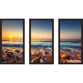 """Beautiful Sunrise over the sea"" Framed Plexiglass Wall Art Set of 3"