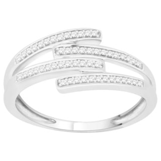 Trillion Designs Sterling Silver 1/10ct TDW Natural Diamond Ring (H-I, I1-I2)