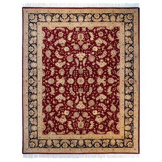 Trastavere Dark Red Wool and Silk Hand-Tufted Rug (7'9x 9'9)