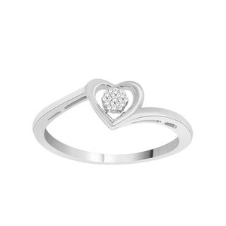 Trillion Designs 10k White Gold over Silver 1/10ct TDW Diamond Heart Promise Ring (H-I, I1-I2)