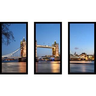 """London Bridge"" Framed Plexiglass Wall Art Set of 3"