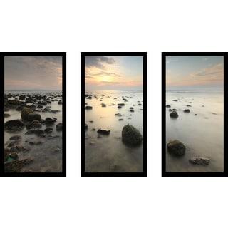 """Sunrise in the sea"" Framed Plexiglass Wall Art Set of 3"