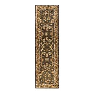 Trastavere Sage/Cream Wool/Silk Hand-tufted Rug (2' x 7'6)