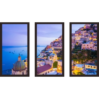 """Positano, Amalfi Coast"" Framed Plexiglass Wall Art Set of 3"