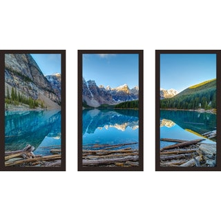 """Moraine Lake in Banff National Park"" Framed Plexiglass Wall Art Set of 3"