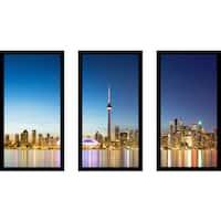 """Toronto"" Framed Plexiglass Wall Art Set of 3"