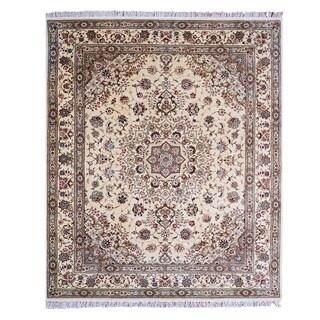 Trastavere Tan Hand-tufted Wool/Silk Rug (7'9 x 9'9)