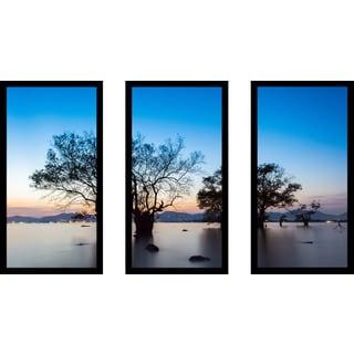 """Trees"" Framed Plexiglass Wall Art Set of 3"