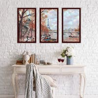 """Gloomy Paris"" Framed Plexiglass Wall Art Set of 3"