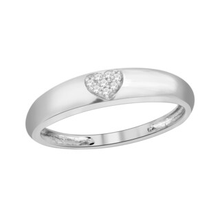 Trillion Designs Sterling Silver Diamond Accent Heart Cluster Wedding Band (H-I, I1-I2)