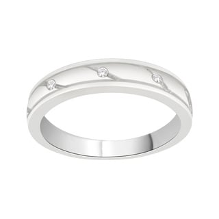 Trillion Designs 10k White Gold Diamond Accent Cross Over Swirling Wedding Band (H-I, I1-I2)