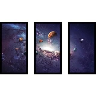 """""""Solar System 2"""" Framed Plexiglass Wall Art Set of 3"""