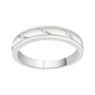 Trillion Designs Sterling Silver Diamond Accent Cross Over Swirling Wedding Band (H-I, I1-I2)