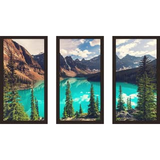 """Banff"" Framed Plexiglass Wall Art Set of 3"
