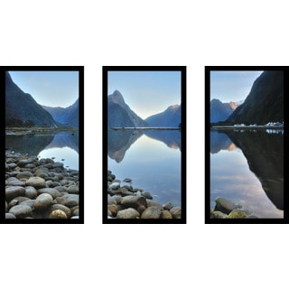"""Water Rocks"" Framed Plexiglass Wall Art Set of 3"